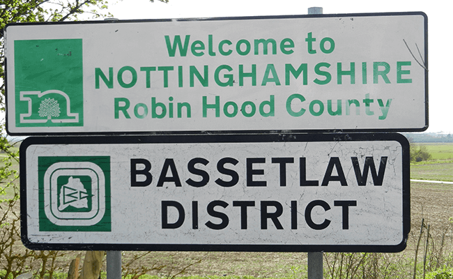Welcome to Nottinghamshire sign